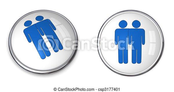 3D Button Male Couple Pictogram - csp3177401
