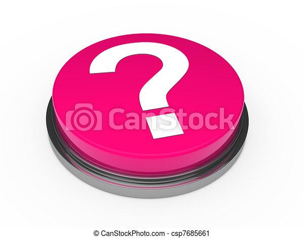 3d button pink question mark - csp7685661