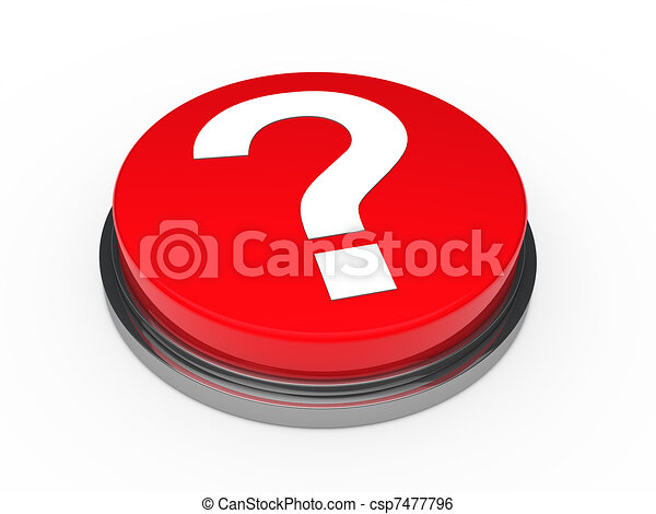 3d button red question mark - csp7477796
