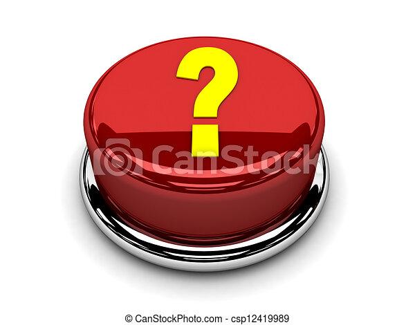 3d button red question stop push - csp12419989