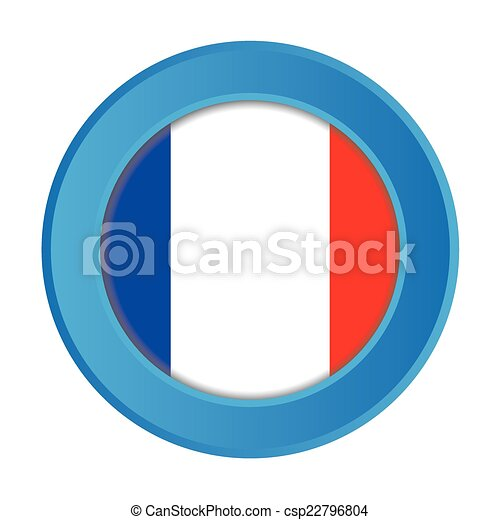 3D Button with the Flag of France - csp22796804