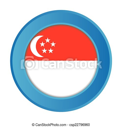 3D Button with the Flag of Singapore - csp22796960