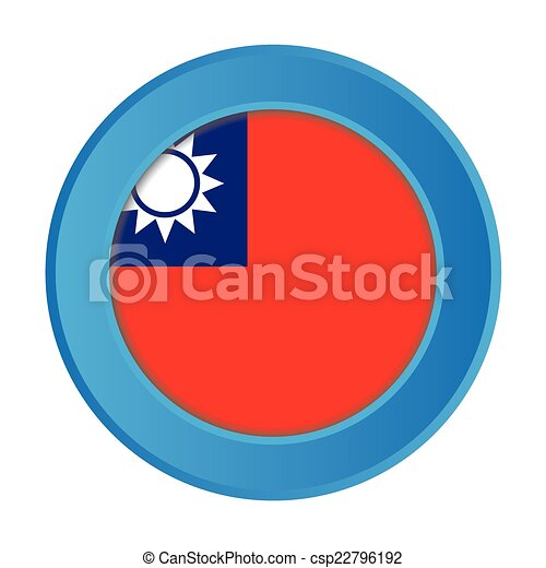 3D Button with the Flag of Taiwan - csp22796192