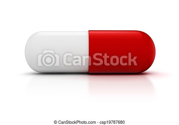 3d capsule pill  on white background - csp19787680