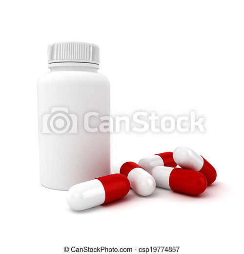 3d capsule pills  on white background - csp19774857