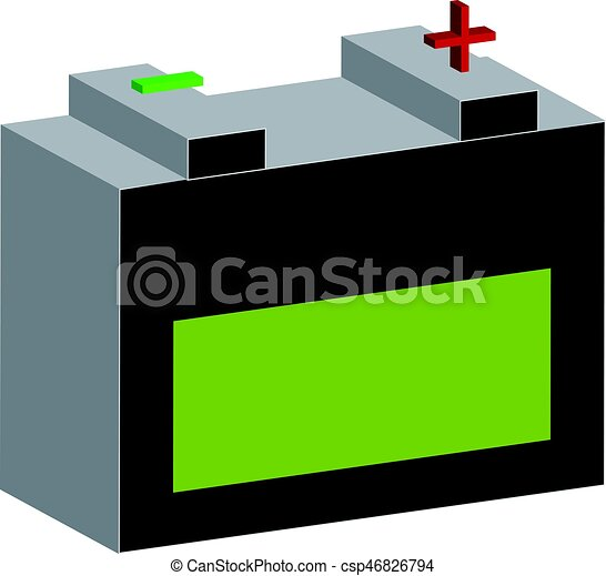 3D car battery on white background. Tools. - csp46826794