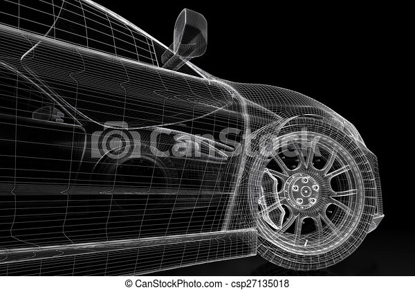 3d car car vehicle 3d blueprint model on a black clipart 3d car csp27135018 malvernweather Images