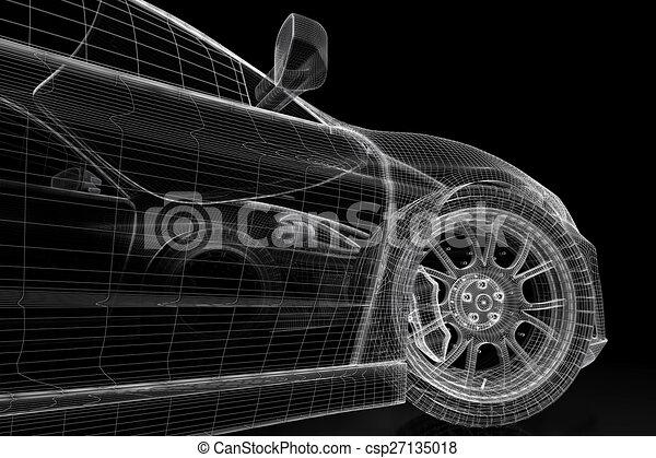3d car car vehicle 3d blueprint model on a black background 3d 3d car csp27135018 malvernweather Gallery