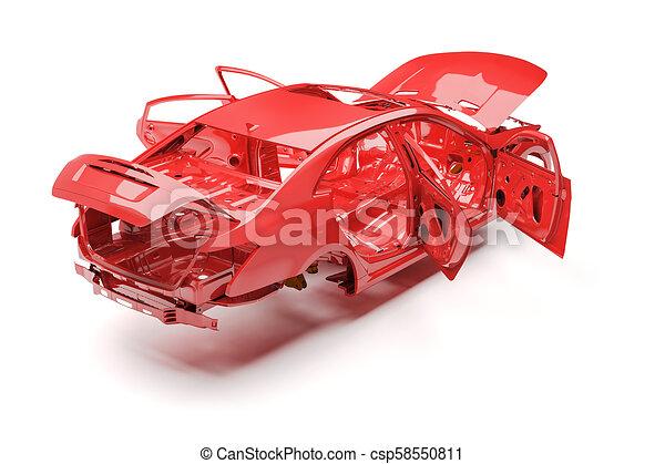 3d car frame body on white background - csp58550811