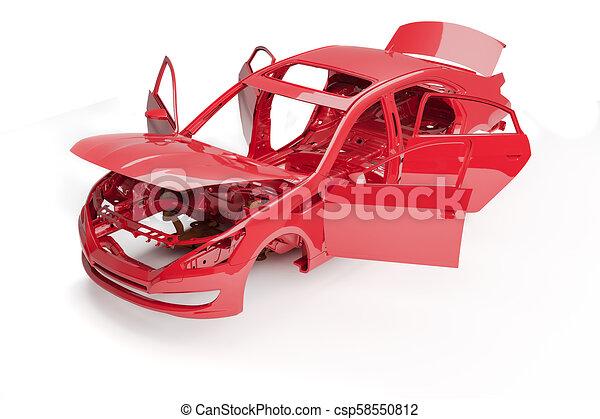3d car frame body on white background - csp58550812