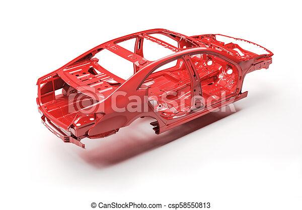 3d car frame body on white background - csp58550813