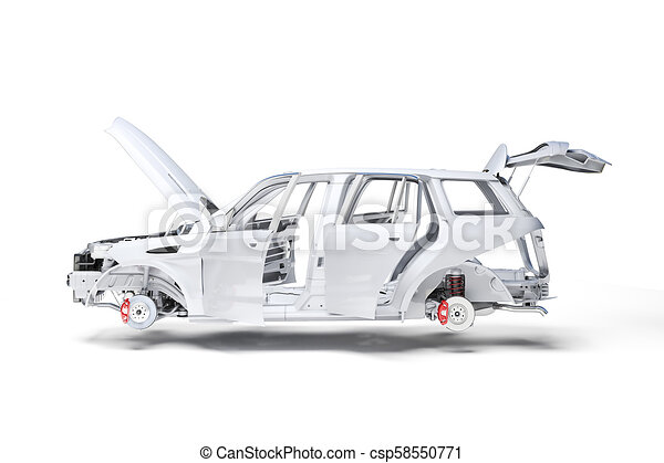 3d car frame body on white background - csp58550771