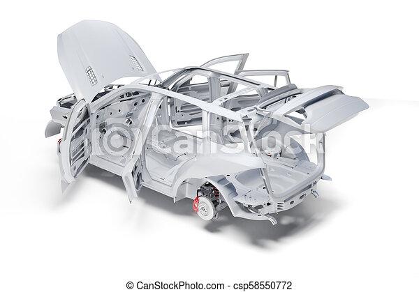 3d car frame body on white background.