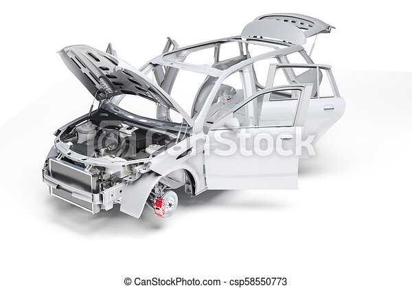 3d car frame body on white background - csp58550773