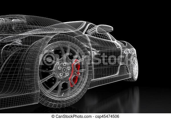 3d car mesh on a black car vehicle 3d blueprint mesh model stock 3d car mesh on a black csp45474506 malvernweather Gallery