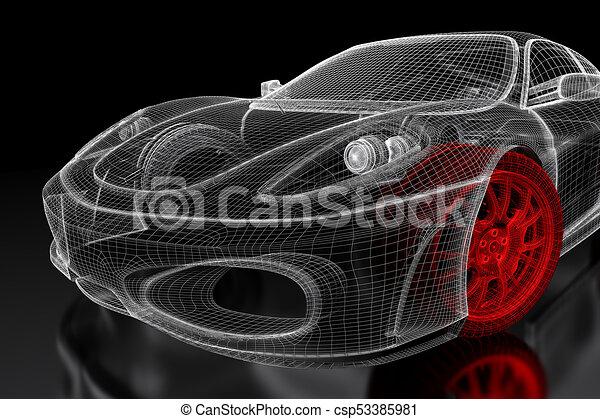 3d car mesh on a black car vehicle 3d blueprint mesh model stock 3d car mesh on a black csp53385981 malvernweather Choice Image