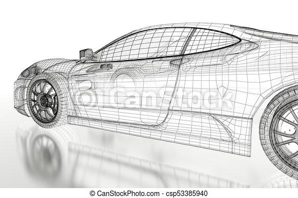 3d car mesh on a white. Car vehicle 3d blueprint mesh model on a ...