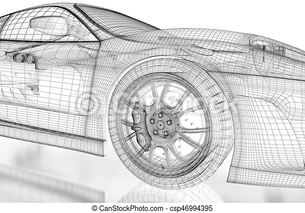 3d car mesh on a white car vehicle 3d blueprint mesh model stock 3d car mesh on a white csp46994395 malvernweather Image collections