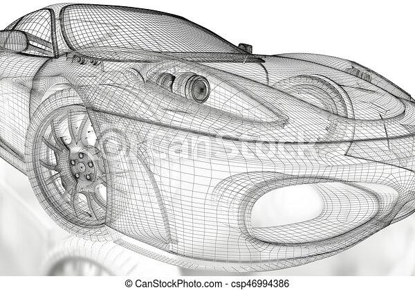 3d car mesh on a white car vehicle 3d blueprint mesh model on a 3d car mesh on a white csp46994386 malvernweather Gallery