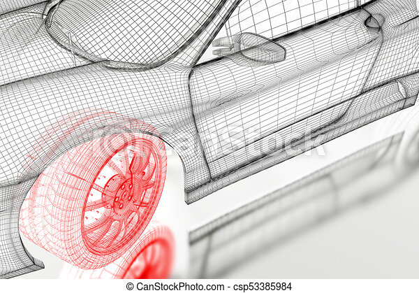 3d car car vehicle 3d blueprint mesh model with a red wheel 3d car csp53385984 malvernweather Gallery