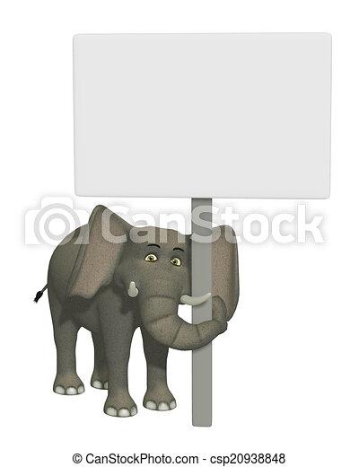 Un elefante de dibujos animados 3D con una señal en blanco - csp20938848