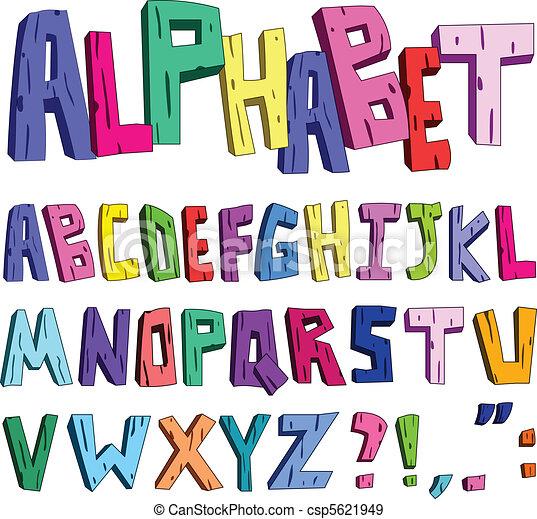 3d cartoon alphabet - csp5621949