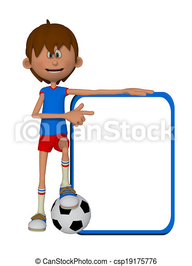 3d Cartoon Boy With Football Ball And Blank Board