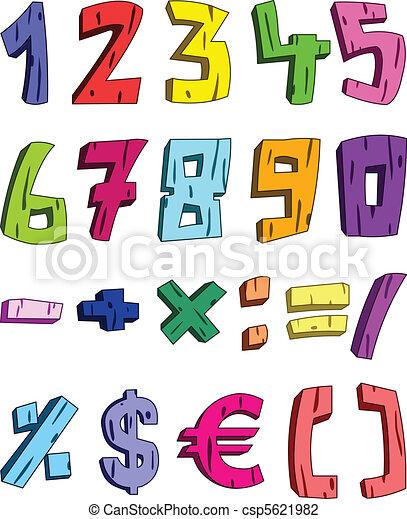 3d cartoon numbers - csp5621982