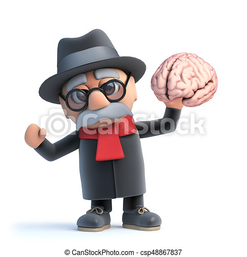 3d cartoon old man character holding a human brain. 3d drawings