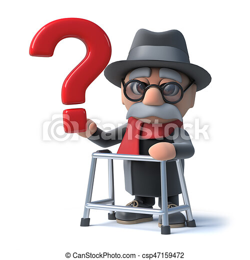 3d cartoon old man with walking frame holds a question mark. 3d ...