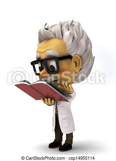3d cartoon Professor reading a book - csp14955114
