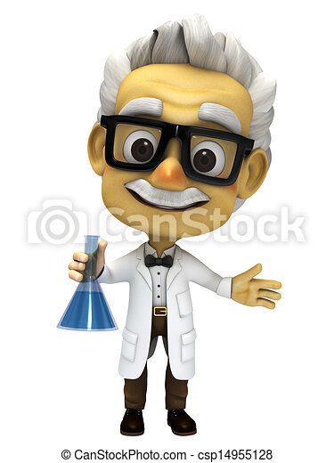 3d cartoon Professor with lab glass - csp14955128
