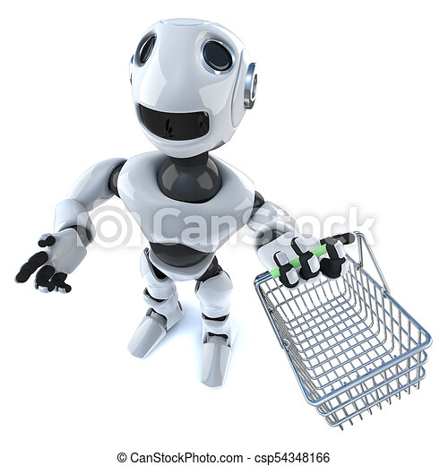 3d Cartoon robot man carrying a shopping basket