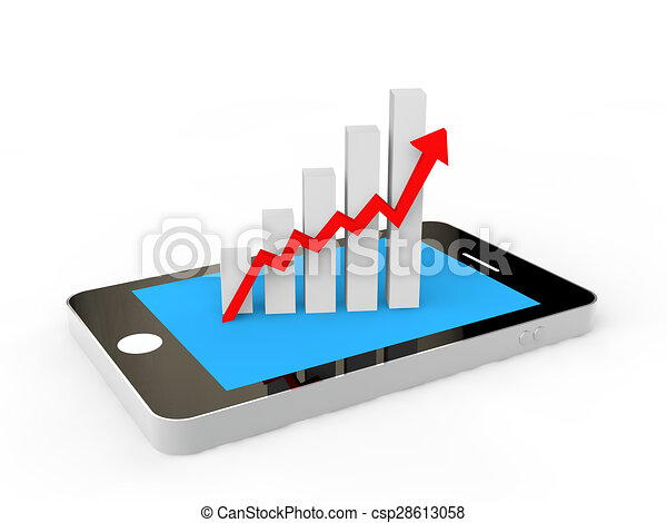3d cellphone and progress graph