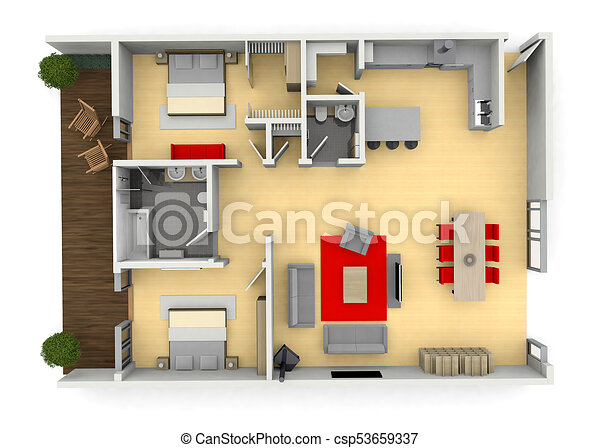 3d cgi birds eye view floorplan of a modern house or apartment ...