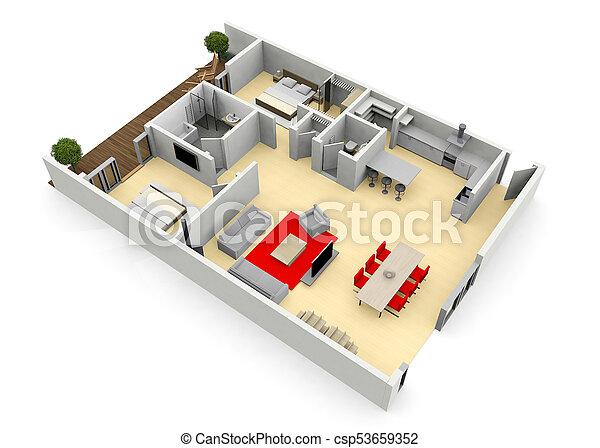 3d cgi birds eye view floorplan of a modern house or apartment - csp53659352