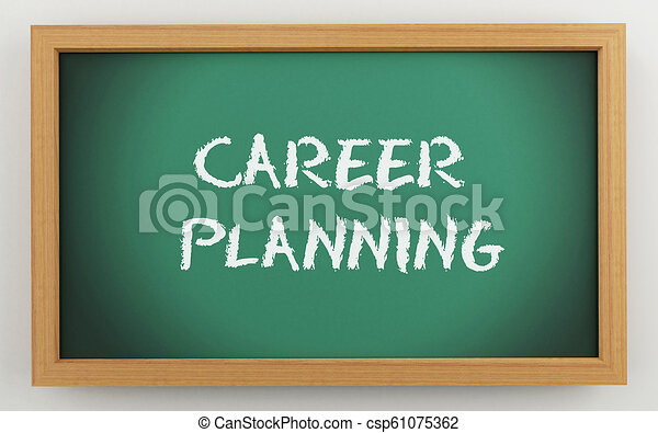 3d chalkboard with Career planning text - csp61075362