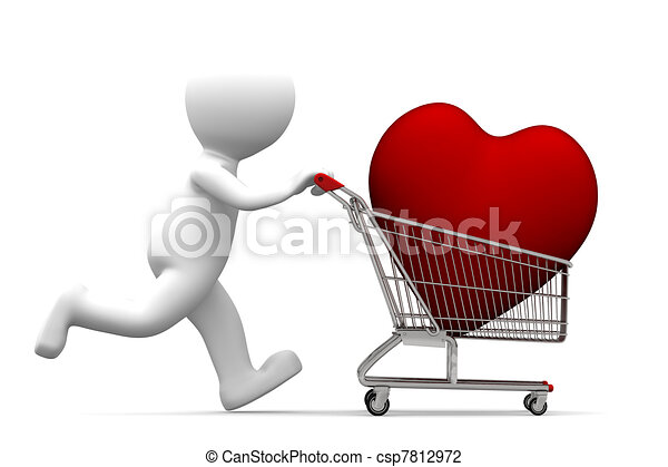 3d character driving shopping cart with red heart inside - csp7812972