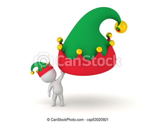 87962374ebe4b 3d character holding a large elf hat. 3d character holding a large ...