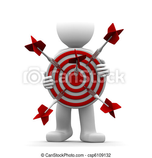 3d character holding a red archery target  - csp6109132