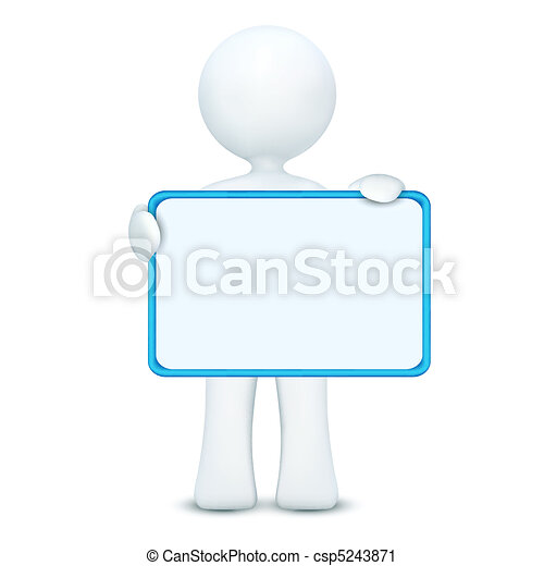 3d character holding blank board - csp5243871