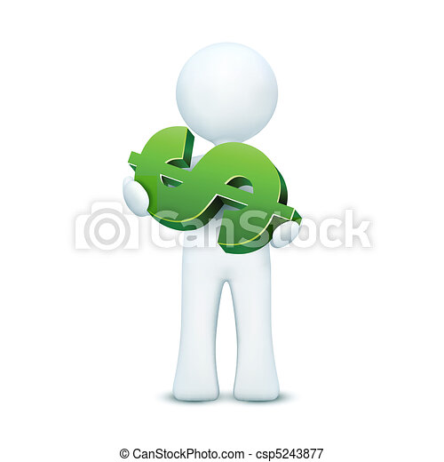 3d character holding dollar - csp5243877