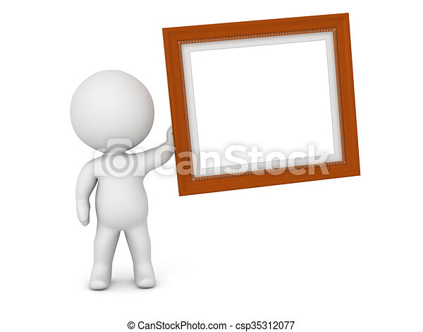 3d character holding ornate diploma frame. 3d character holding up a ...