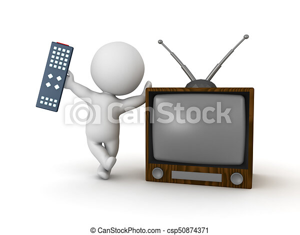 3D Character holding remote control and leaning on retro television - csp50874371