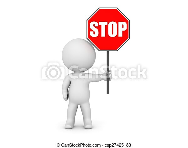 3D Character Holding Stop Sign - csp27425183