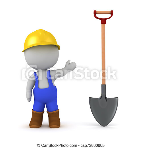 3D Character in Overalls with Shovel - csp73800805
