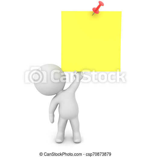3D Character lifting up yellow sticky note with red pin - csp70873879