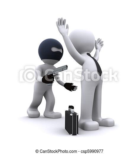 3d character robbing a businessman - csp5990977