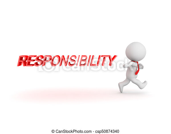 3D Character running away from responsibility - csp50874340