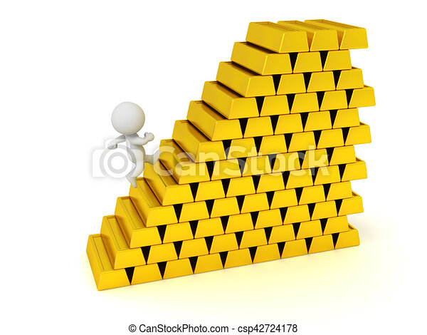 3D Character Running Up Stairs Made of Gold Bars - csp42724178
